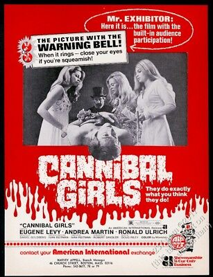 1973 Cannibal Girls horror movie release vintage trade print ad