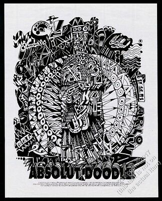 1993 Absolut Doodle vodka bottle art vintage ad