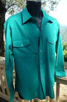 MALCO MODES  SQUARE DANCE Color-Coordinated Mens Western Shirt 16-1/2 teal GREEN