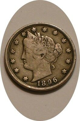 1896 Liberty V Nickel nice Original FULL DETAIL Full Liberty