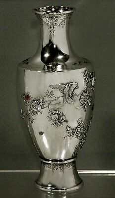 Chinese Export Silver Enamel Vase   Signed   *Gold Accents*     $9800  Now $6400