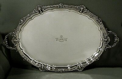 English Sterling Tray    * VAUGHAN-LLOYD FAMILY CREST *               144 OZ.