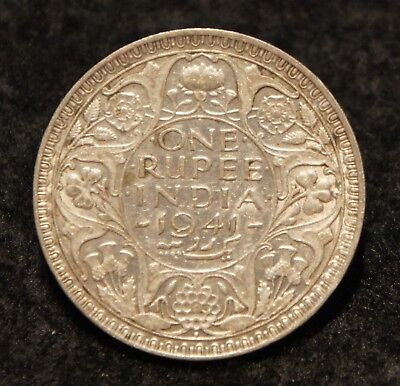 1941 India Rupee in EF Condition 50% SILVER  Very NICE Collectible!