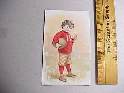 1900 MAPLE LEAF YEAST CARD BOY HOLDING FOOTBALL BROOKVILLE INDIANA Fine