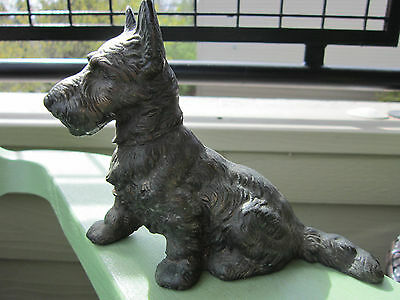 Antique Original Bronzed Cast Iron Sitting Scottie Dog Home Art Statue Doorstop