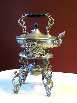 Vintage Antique Silverplate TeaPot Hot Water Spirit Tilt Kettle on Stand