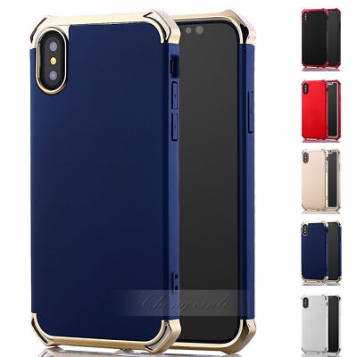Vintage Slim 2IN1 hybrid shockproof Chrome Hard Case For iPhone X 10 7 8 8 Plus