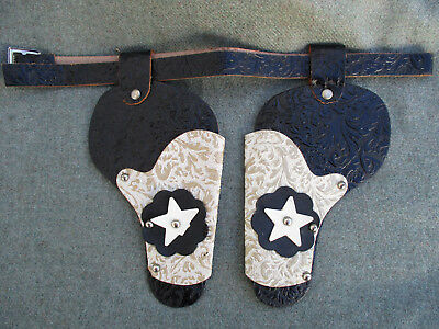 VINTAGE 1950s-1960s TWIN TOOLED LEATHER HOLSTER BELT FOR SMALL CAP GUN