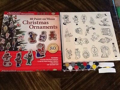 New 40 Paint On Wood Christmas Ornament Set Paint Included