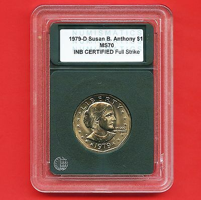 1979 'D' United States Susan B. Anthony Dollar Coin INB Certified Slab MS70