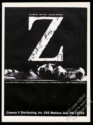1970 Z movie Costa-Gavras vintage trade print ad