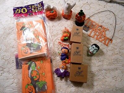 LOT of HALLOWEEN Vintage TREAT BAGS EDDIE WALKER MINI GHOST 3 AVON ORNAMENTS +