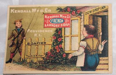 Antique Victorian Trade Card Kendall's French Soap Providence RI Fisherman