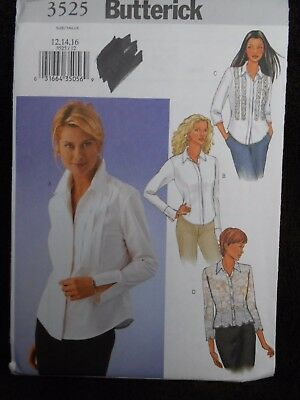 Butterick Shirt Pattern 3525 Size 12 14 16
