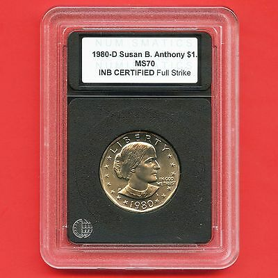1980 'D' United States Susan B. Anthony Dollar Coin INB Certified Slab MS70
