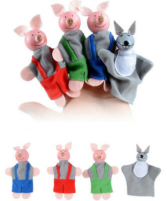 4PCS Three Little Pigs And Wolf Finger Puppets Hand Puppets Christmas Gifts