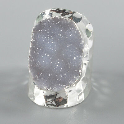 Defective Size 6.75 Natural Agate Druzy Geode Ring Silver Plated B035940