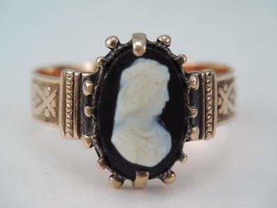 Antique Early Victorian 14K Rose Gold Black & White Cameo Ring Gorgeous $9.99