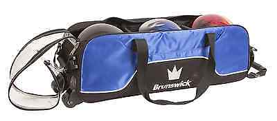 Brunswick Crown Triple 3 Ball Tournament Tote Bowling Bag with tow wheels Blue