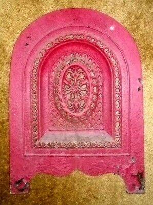 CAST IRON ARCHED ORNATE PIERCED GAS, LOG or COAL FIREPLACE FRONT COVER INSERT