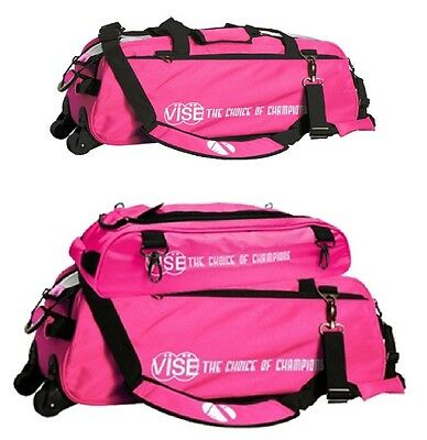 Vise 3 Ball Tote Bowling Bag with shoe pocket & Matching 3 Ball Tote Pink