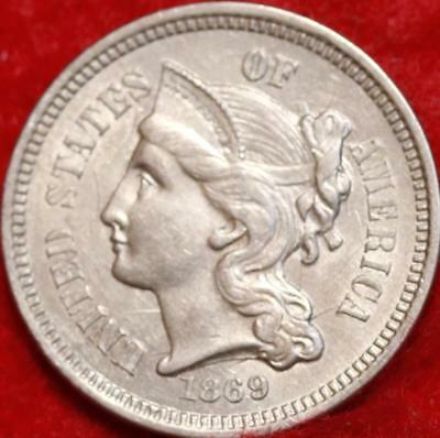 1869 Philadelphia Mint Silver Three Cent Coin Free Shipping