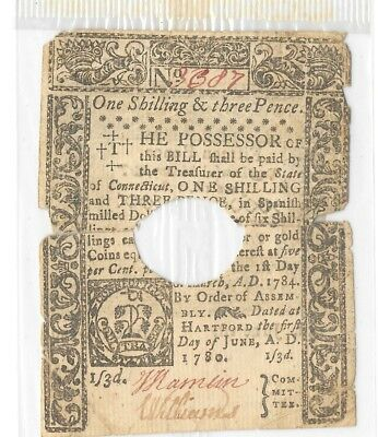 June 1, 1780 Colony Connecticut Colonial Currency = ONE SHILLING & THREE PENCE