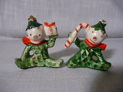 Two VINTAGE CHRISTMAS Holly Pixie Elf Snowmen Candy Cane & Gift Commodore?