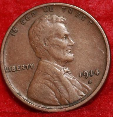 1914-S San Francisco Copper Lincoln Wheat Cent Free Shipping