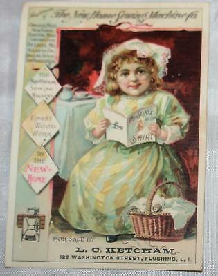 Antique Victorian Trade Card Sewing Machines Flushing Long Island NY Girl Book