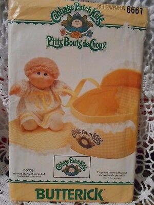 Butterick Cabbage Patch Kids Bed Carrier Pattern 6661  Iron-On Transfer Included