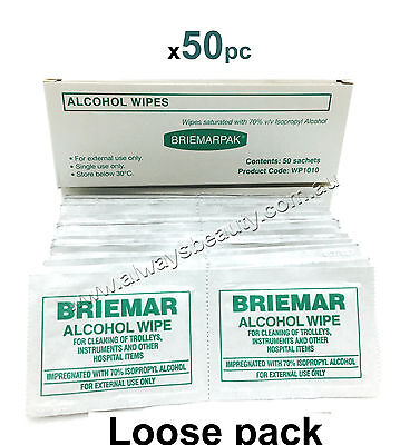 Briemar Alcohol Wipes Swabs Beauty Clinic 50 Pad ISOPROPYL ALCOHOL WIPE