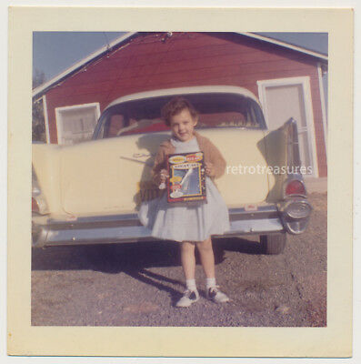GIRL w GLITTER GLO BEN COOPER HALLOWEEN COSTUME by 50s CHEVY CAR vtg COLOR photo