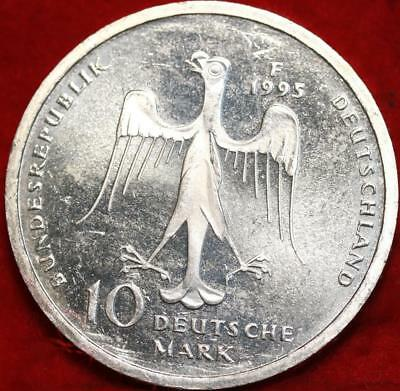 Uncirculated 1995-F Germany 10 Mark Foreign Silver Coin Free S/H