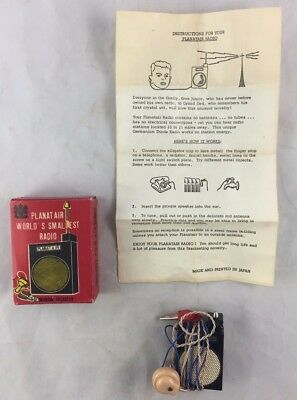 Vintage Germanium Japan Made Planatair World's Smallest Radio With Box