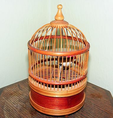 **Automaton Bird In Cage * Moves & Chirps * Glass Eyes & Limoges Bird In Cage**