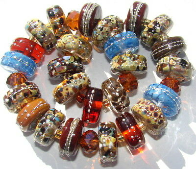 "Sistersbeads ""Chocolate Chip"" Handmade Lampwork Beads"
