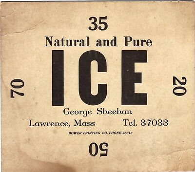 """VINTAGE ICE SIGN, TO PUT IN THE WINDOW FOR THE """"ICE MAN"""" Lawrence, Mass."""