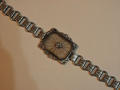...Antique Art Deco Sterling Silver Camphor Glass Diamond Bracelet...