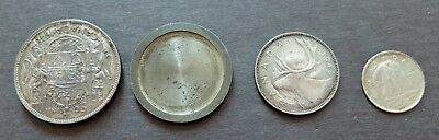 1948 SILVER 50c, 25c & 1947ML 10c LOT OF 3 TOOLED TRICK COINS VERY SCARCE LOT916