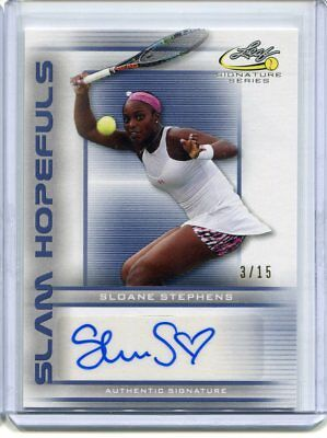 2017 Leaf Signature Series Sloane Stephens Slam Hopefuls Blue Auto #ed 3/15
