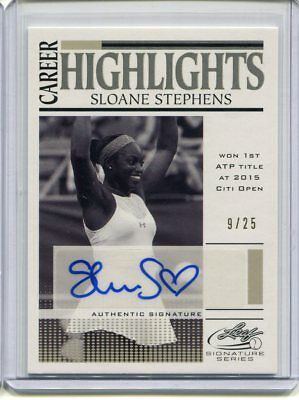 2017 Leaf Signature Series Sloane Stephens Career Highlights Auto #ed 9/25