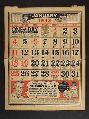 1942 ALKA-SELTZER 6 page double sided ADVERTISING CALENDAR (10 x 12 1/2)