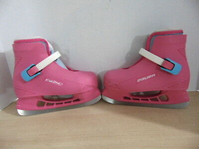 Ice Skates Child Size 12-13 Bauer  Adjustable Pink Plastic Mold With Liner
