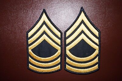 US Army Master Sergeant Rank E-8 Dress Military Patch Rank Sew on Authentic USED