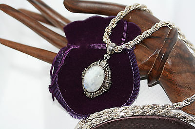 Vintage 16CT Rainbow Moonstone Celtic Pendant 925 Silver Necklace Rope Chain 5MM
