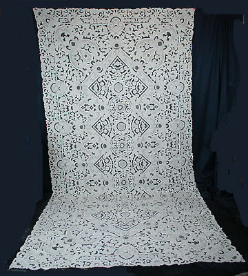 "POINT de VENISE TABLECLOTH ITALIAN NEEDLE LACE HANDMADE 135"" x 68-1/2"""