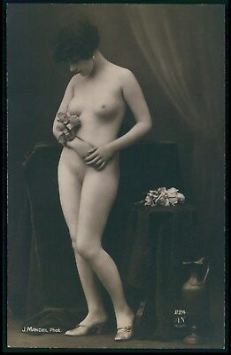 a French full nude flower woman original 1910-1920s Mandel photo postcard AN 224