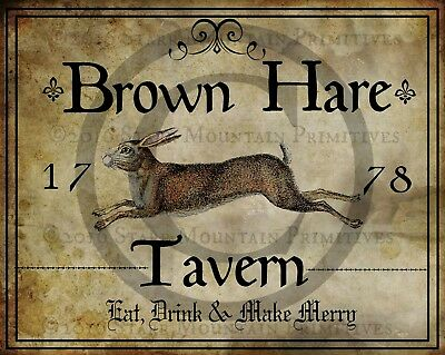Primitive Colonial Folk Art Brown Rabbit Hare Tavern Sign 1778 Print 8x10
