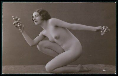 French nude woman Miss Grapes erotic fruits original c1910-1920s photo postcard